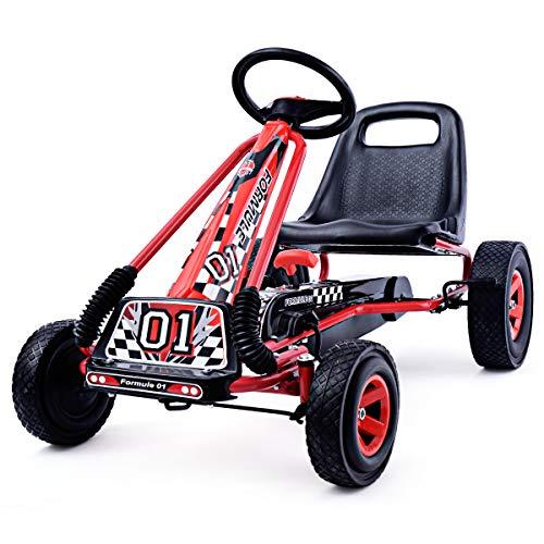 COSTWAY Gokart für Kinder ab 3 Jahre, Go Cart mit Bremsen, Tretauto Verstellbarer Sitz, Pedal Gokart Farbewahl, Tretfahrzeug Pedalfahrzeug Kinderfahrzeug 101x61x62cm (rot)