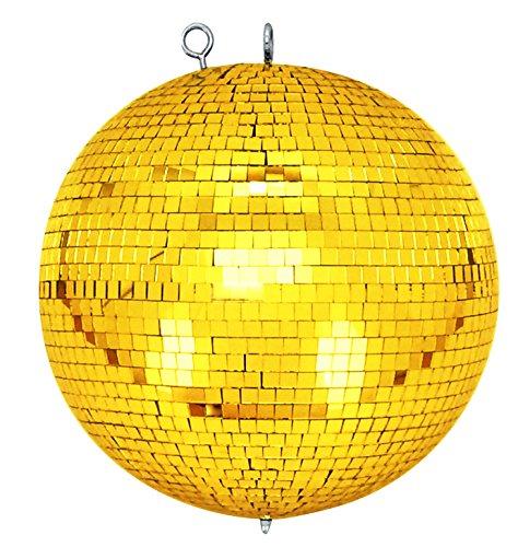 Spiegelkugel mit Sicherheitsöse 30cm gold//Discokugel - Mirrorball 30cm gold