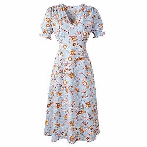 Xmiral Damen Kleid Blumendruck Kurzarm V-Ausschnitt Hohe Taille Knielanges Party Strandkleid(Blau,L)