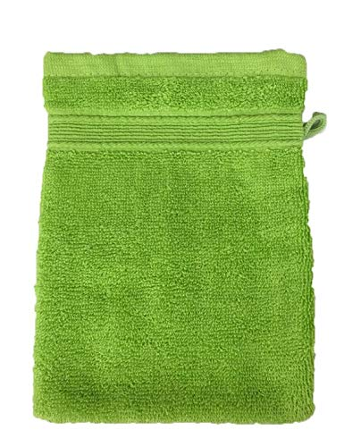 Lot de 10 Gants de Toilette Éponge 600gr/m² Coton - 20x15cm - Gants de Toilette - Anis/Flashy Green