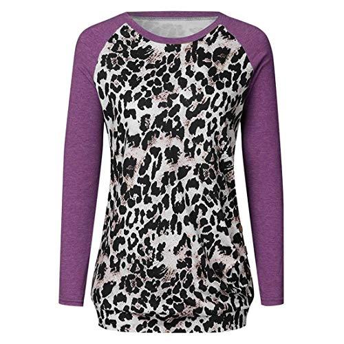 Damen Pullover T-Shirt Lange Ärmel Rundhals Slim Fit Bequemer Patchwork Leopard Streetwear Frühling, Sommer und Herbst neu Outdoor Mode Casual Daily Wear Sweatshirt L