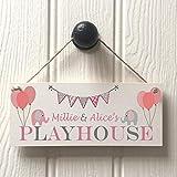 Bair89Pulla Personalisierbares Mädchen-Ballons Spielhaus-Schild, Plakette, Spielhäuser, Geschenk
