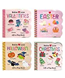4 Pack Chunky Lift-a-Flap Seasons Board Books: Valentines/Easter/Halloween/Christmas