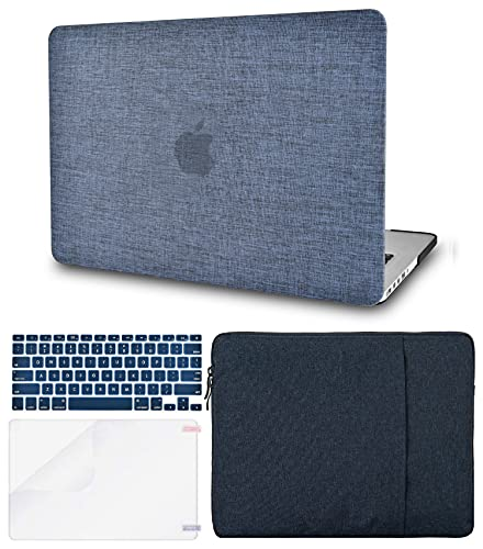 """KECC Laptop Case Compatible with MacBook Pro 13"""" (2020/2019/2018/2017/2016, Touch Bar) w/Keyboard Cover + Sleeve + Screen Protector (Bundle) Hard Shell A2159/A1989/A1706/A1708 (Navy Fabric)"""