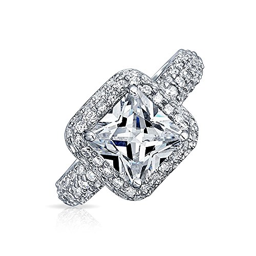 Bling Jewelry Estilo Art Deco 2.5Ct Corte Princesa Cuadrado Solitario AAA Halo CZ Anillo Compromiso Pave La Banda Plata Esterlina 925
