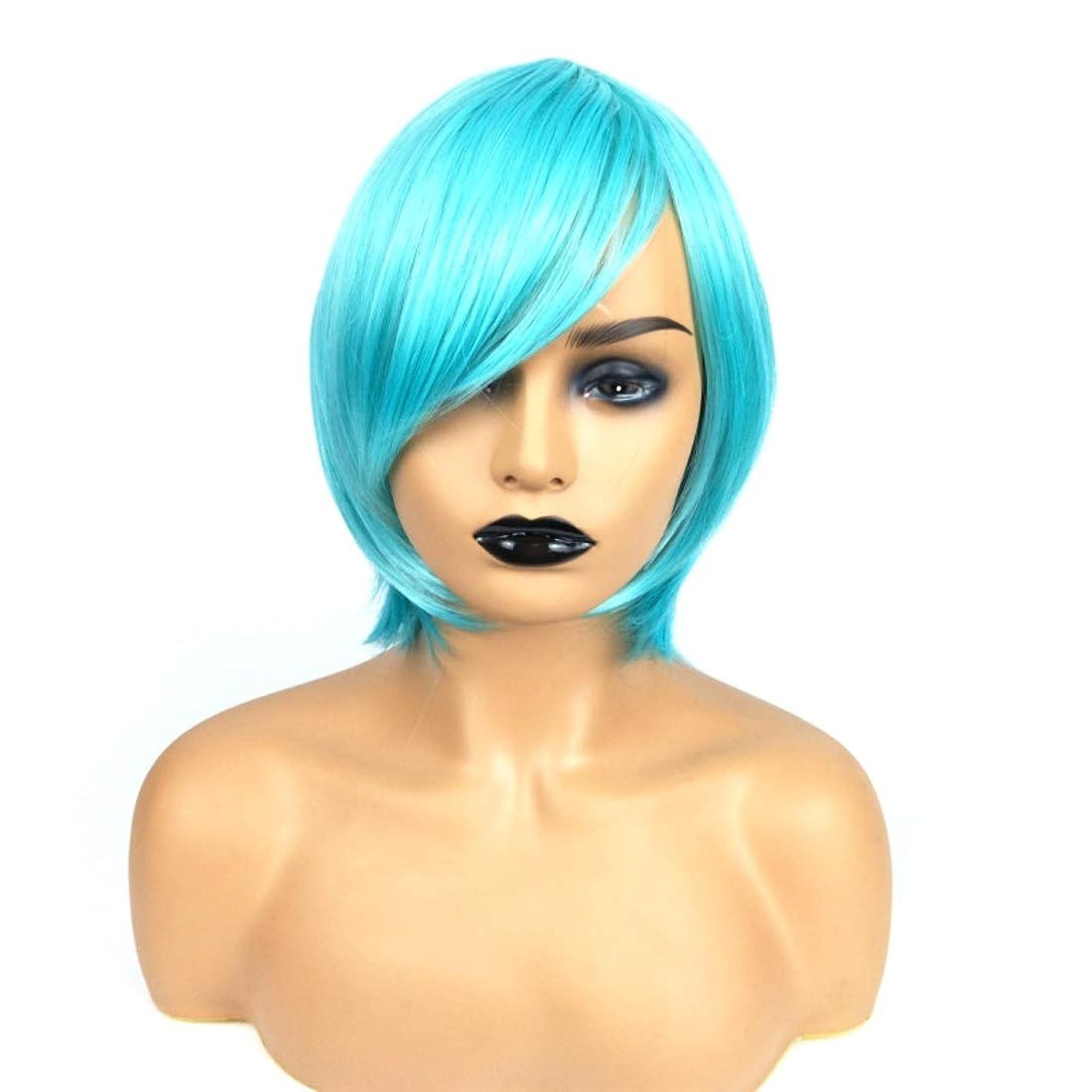 おっと刺しますアーティキュレーションSummerys ライトブルーのショートストレートヘアショートボブヘアウィッグストレート前髪と女性用