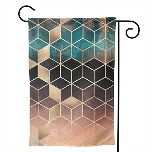 Home Garden Omre Dream Cubes Decoration 12.5 'x18' Drapeau de Jardin Double Face, Blanc, 12.5 'x18'