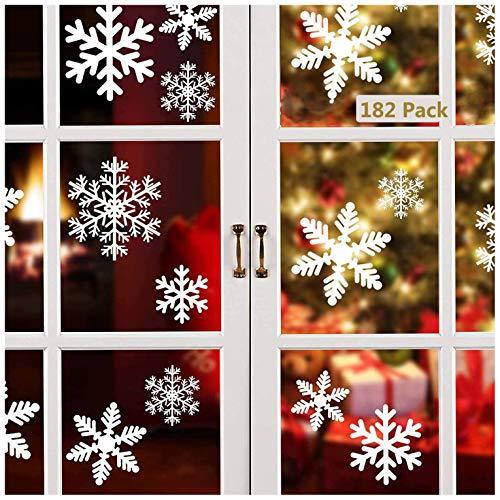 Linkbro Weihnachtsdeko Fensterbilder,[182 Pack] Schneeflocken Fenster Deko, Abnehmbare Statisch Haftende PVC Aufkleber für Weihnachtsdeko Fenster, Winter Deko,Türen,Schaufenster,Vitrinen,Glasfronten