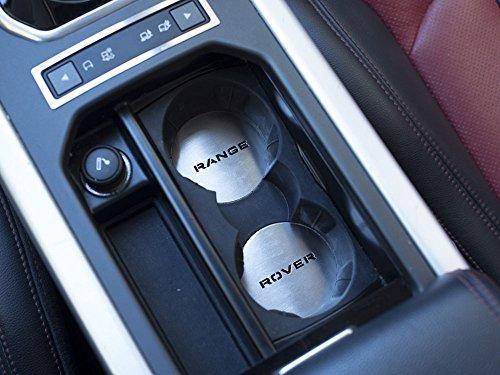 Getränkehalter Emblem Stahlabdeckung für 2011-2018 Evoque - 1 Stück Kreisscheibe Platte Edelstahl Gebürstet Blenden Cockpit Dekor Mass Angefertigt