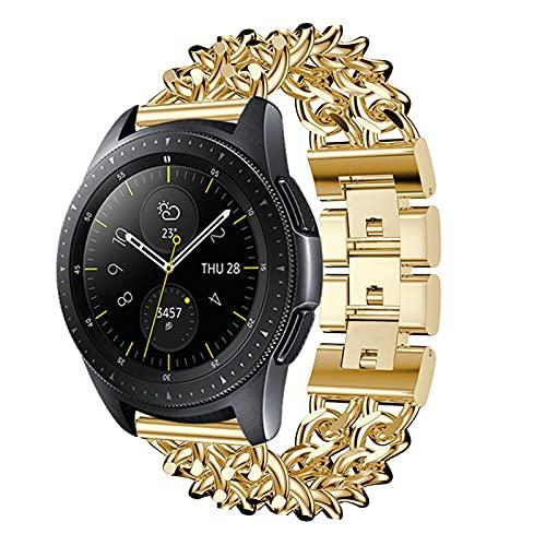 HGNZMD Pulsera Deportiva Compatible con Galaxy Watch 3, Hombres Mujeres Correa De Reloj De Acero Inoxidable Bandas De Repuesto Band De Metal Joyas De Eslabones Compatible con Galaxy Watch 3,Oro,41MM