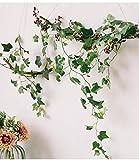 Homvik Künstliche Efeu-Pflanzen, 12 Stück x 2,2 m, hängende Kunstpflanze Girlande für Dekoration Außen Hochzeit Haus Garten Treppe Fenster Balkon Zaun Tisch Party Innen