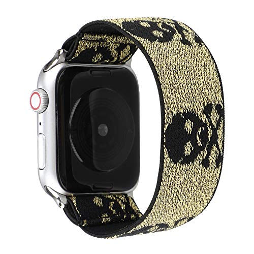 Elastic Wristband Bracelet Sweatproof Stretchy Nylon Band Stylish Art Design Colorful Loop Strap Compatible with 44mm 42mm Apple Watch SE/Series 6 5 4 3 2 1