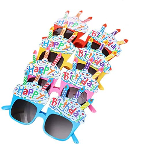 EBTOYS Happy Birthday Candle Sunglasses Novelty Sunglasses for Birthday Gift Party Supplies,4 Pack