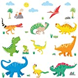 DECOWALL DWL-1805N Colourful Dinosaur Kids Wall Stickers Decals Peel and Stick Removable for Nursery Bedroom Living Room Art murals Decorations