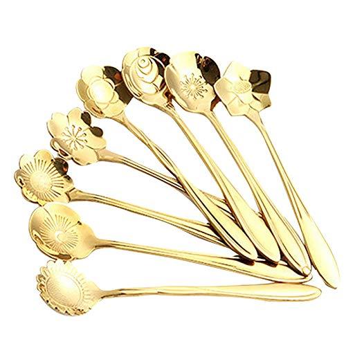 Cucharas de café de 8 Piezas, Juego de cucharaditas de café con Forma de Flor, Cuchara de Postre de Acero Inoxidable para Mezclar cucharas de Bebidas