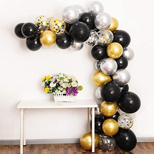 100Pcs Balloon Arch Kit, Black Gold Silver Balloon Garland Backdrop Including Black, Chrome Gold Silver Confetti Balloons Decorations Backdrop Ideal for Birthday Party Decorations