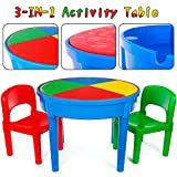 Kids 3-in-1 Multi Activity Table Set - 25 Pieces Jumbo Blocks Compatible Bricks Toy, Play...