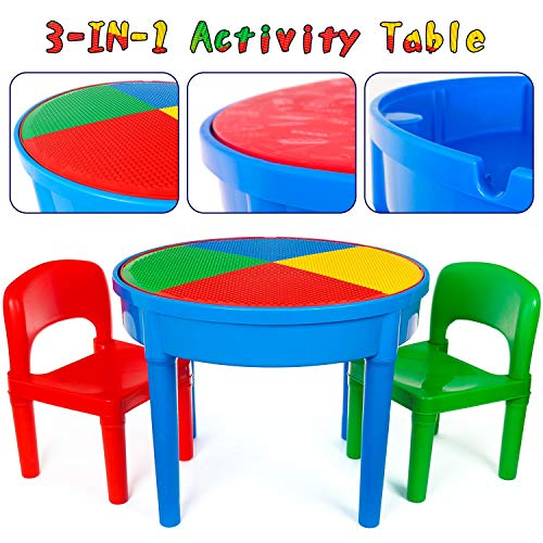 Kids 3-in-1 Multi Activity Table Set - 25 Pieces Jumbo Blocks Compatible Bricks Toy, Play Table...