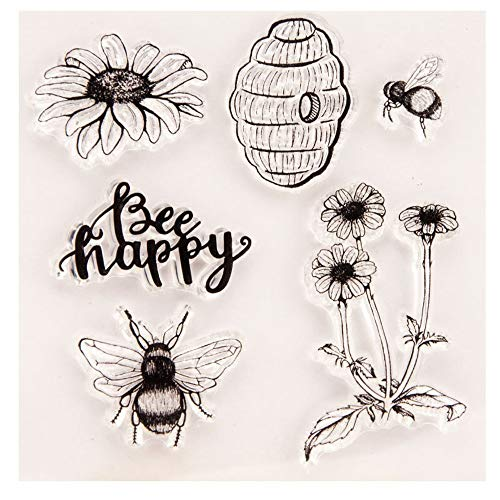 4.1 by 4.1 Inches Bee Daisy Flower Letters Clear New Stamps for Scrapbooking Card Making Christmas Clear Stamps
