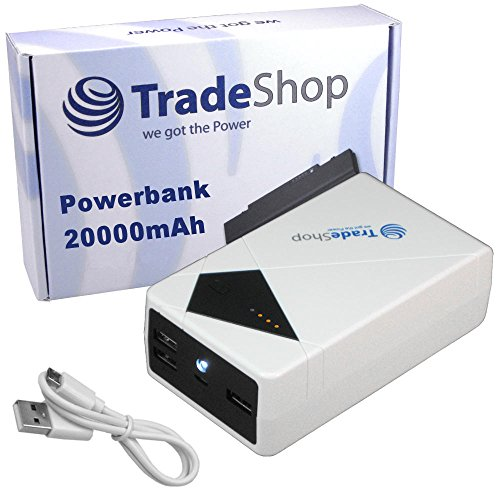 Trade-Shop 20000mAh USB Powerbank Externer Notfall-Akku Reserve für Wiko Birdy Bloom Getaway Highway Sign Kite Lenny Wax ZTE Blade L2 Vec 4G Grand S II LTE Kis3 Max Nubia Z7