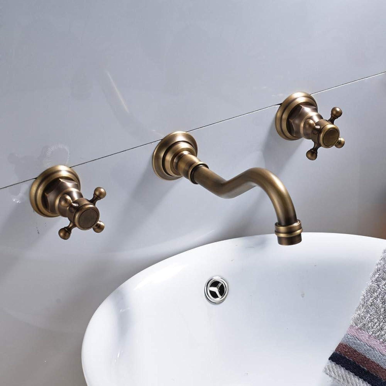 DOMOUDOKüchenarmaturen Waschtischarmaturen Messing Toilette Waschtischarmatur Wandmontage Doppelgriffe Becken Waschbecken Mischbatterie