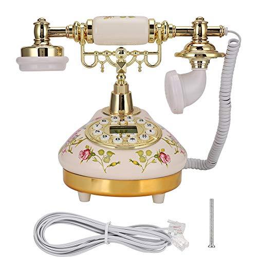 Plyisty MS-9100 Teléfono Retro Rosa con Base Redonda Europea con contestador automático, función de Pausa y rellamada para Sala de Estar/Dormitorio/Hotel