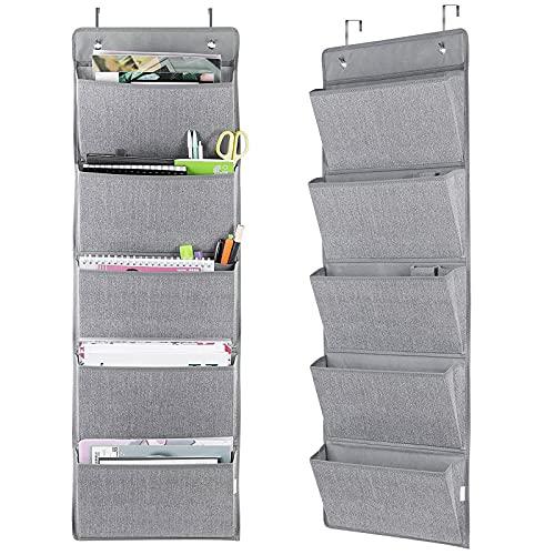 2X Hängeorganizer Hängeaufbewahrung Zeitungshalter für Tür Wand mit 5 Taschen aus Stoff Grau 108x35x9cm