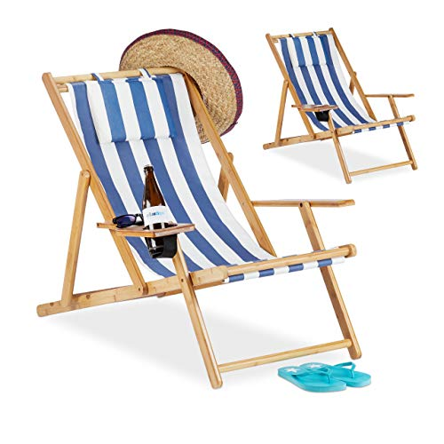 Relaxdays, Azul, Pack 2 Tumbonas Plegables Jardín Playa con Soporte para Bebidas, Bambú, 65,5-85,5 x 71,5 x 100 cm