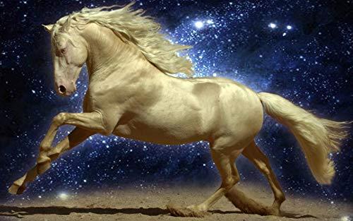 Legpuzzels Voor Kinderen 1000 Stukjes, Mooie Gouden Paard, Nachtelijke Hemel Sterren,Brain Challenge Games