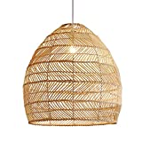 CraftThink Ceiling Pendant Light, Curved Bamboo Semi Flush Light 1 Bulb Beige Ceiling Suspension Lamp, Flushmount Light Hanging Light for Kitchen Living Room Bedroom Restaurant -18' Wide