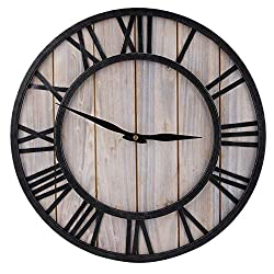 KSTE 16 Inch Rustic Vintage Silent Non-Ticking Decorative Wall Clock with Large Roman Numerals