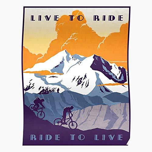 kineticards Art Retro Mountain Live Bike Biking to Cycling Illustration Ride Rocky   Home Decor Wall Art Print Poster