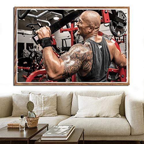 NOVELOVE Workout Fitness Dwayne Johnson Impresión de la Lona del Cartel HD Pintura Arte de la Pared Fotos Bar Mural Regalo Decoración para el hogar (50 * 70 cm)Sin Marco ⭐