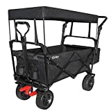 Elatany Heavy Duty Folding Outdoor Collapsible Utility Wagon Cart with Brake Function Big Wheels and Canopy for Grocery Beach Black 176lbs Loading Capacity