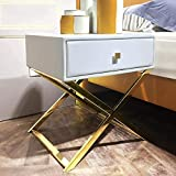 YIHANGG Stainless Steel Bedside Table, Leather Art Solid Wood Pumping Storage Side Cabinet Bedroom Side Table,Yellow