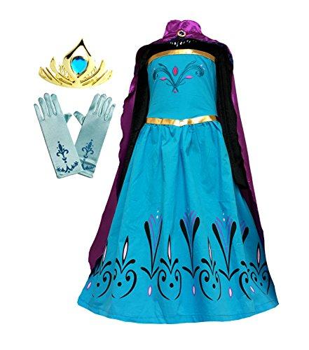 American Vogue Elsa Coronation Dress Costume + Cape + Gloves + Tiara Crown (4 Years, Blue-Purple)