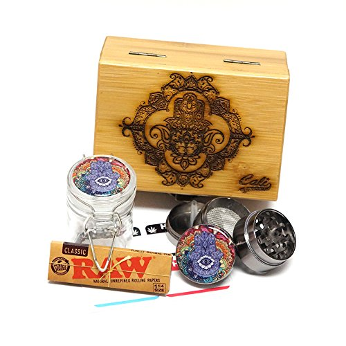 "Cali Factory Hamsa Laser Etched Sacred Geometry Stash Box, 1.6"" Zinc Alloy Grinder, Small Stash Jar - All in ONE Box Package Item# WBCS111617-6"