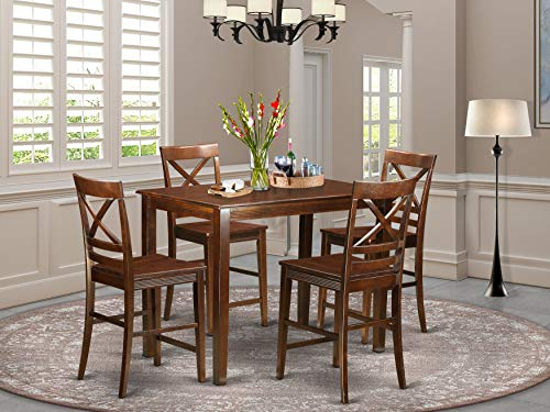 East West Furniture YAQU5-BLK-W - Juego de Mesa de Comedor y 4 sillas (5 Piezas)