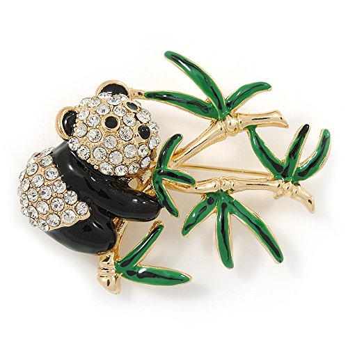 Avalaya Black/Green Enamel, Clear Crystal Panda Bear Brooch in Gold Plating - 50mm L