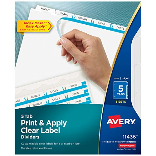 Avery 5-Tab Binder Dividers, Easy Print & Apply Clear Label Strip, Index Maker, White Tabs, 10 Packs (11436)