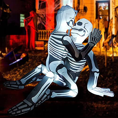 GOOSH 5.5 FT Halloween Inflatable Outdoor Skeleton Couple Lovers, Blow Up Yard Decoration Clearance with LED Lights Built-in for Holiday/Party/Yard/Garden