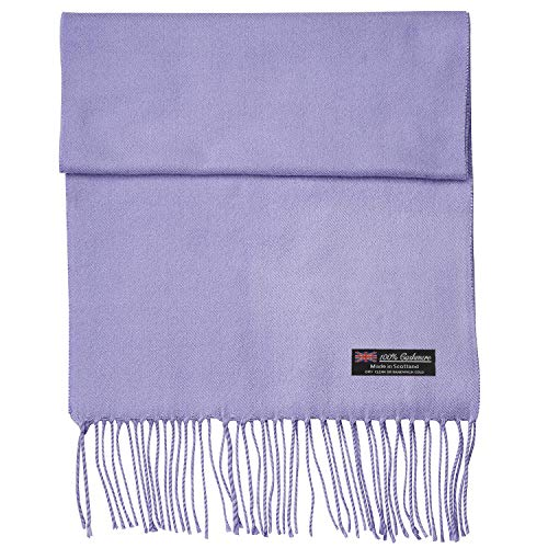 2 PLY 100% Cashmere Scarf Elegant Collection Made in Scotland Wool Solid Plaid Men Women (Lavender Purple)