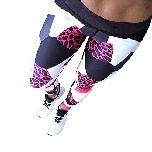 SHOBDW Mujeres Deportes Yoga Estampado de Leopardo Colorido Entrenamiento Gimnasio Fitness Push Up Leggings Mallas de Correr Medias de Cintura Alta Mono Pantalones Deportivos(Rojo,S)