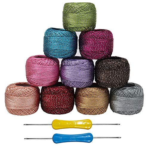 Kurtzy Colourful Glitter Thread (10 Pcs) and 2 Crochet Hooks - Each Thread Ball 10 Grams, 85 metres - Sparkly Crochet Yarn in an Assortment of Colours - Ideal for Beginners or Crochet Enthusiasts