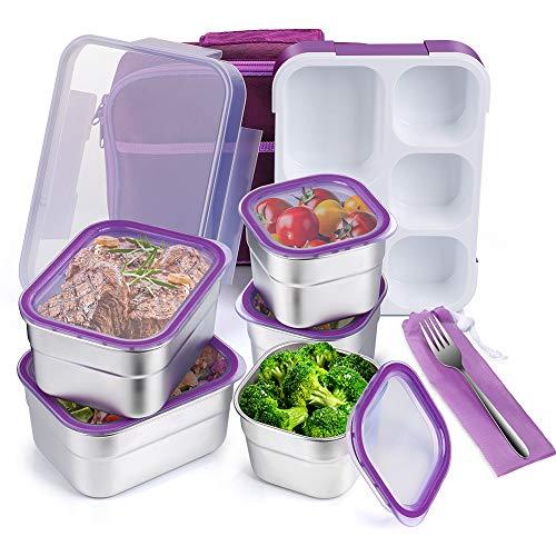 JIM'S STORE Boite a Repas 5 Compartiments avec Sac Lunch Bag sans BPA Bento Boîtes à Déjeuner Lunch Box pour Ecole Bureau Camping Pique-Nique Violet
