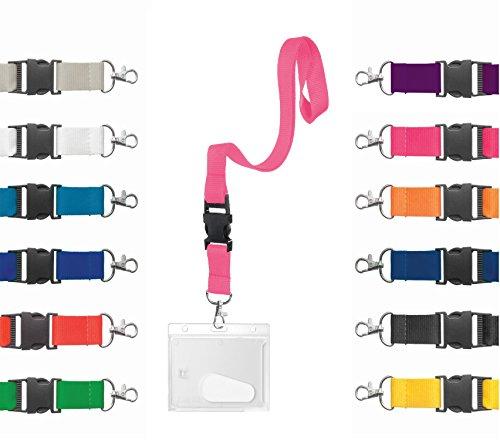 Karteo® Ausweishülle mit Schlüsselband   Kartenhülle horizontal   Kartenhalter aus Hartplastik mit Daumenausschub   Lanyard 20 mm pink mit Schnalle   für Ausweise Dienstausweise Schlüssel Karten