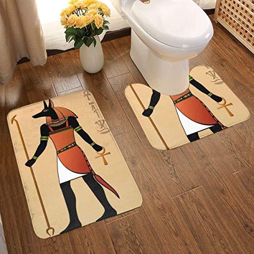 Lucky Home Altes Egipto Juego de 2 alfombrillas de baño, diseño 3D individual, muy absorbentes, antideslizantes, gruesas y de franela