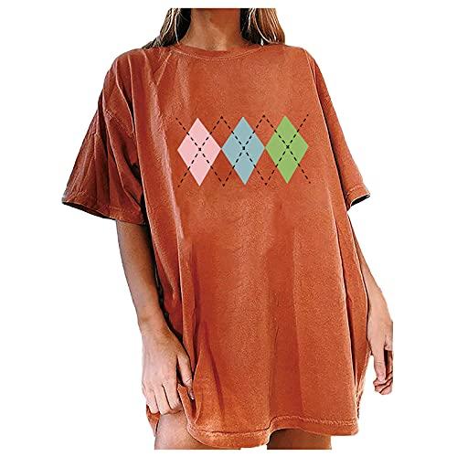 Camiseta Mujer de Color Liso con Impresión Prismática Sencillez Blusas de Mangas Cortas Casual Camisa de Cuello en Redondo Suelta Verano Túnica Suave y Cómodo Tops Ideal para Trabajo,Compras,Cita