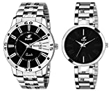 Espoir Analog Stainless Steel Black Dial Couple Watch - Black-ManishaJacob