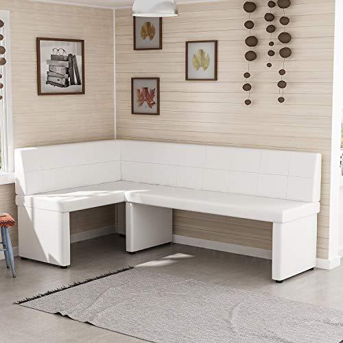 Reboz Eckbank Küchenbank 128 x 168 cm aus Kunstleder Sitzecke (Weiß, 128x168cm Links)